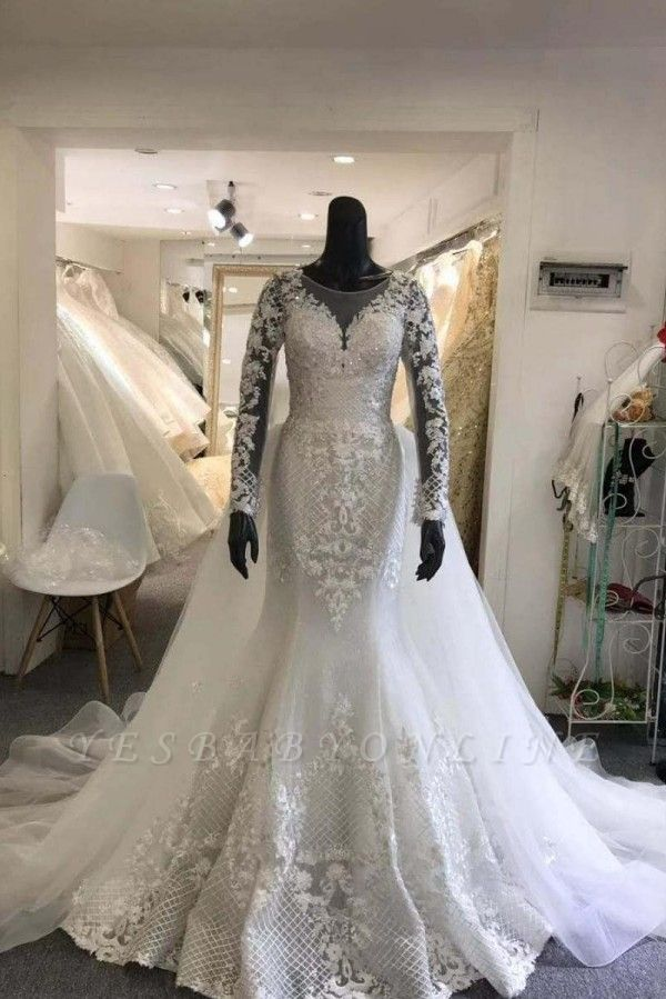 Jewel Lace Sheath Detachable Wedding Dresses with Long Sleeves