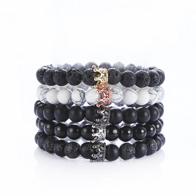 Naturally Stone Pulseira Masculina Beaded Bracelet Onyx Black Yoga Jewelry
