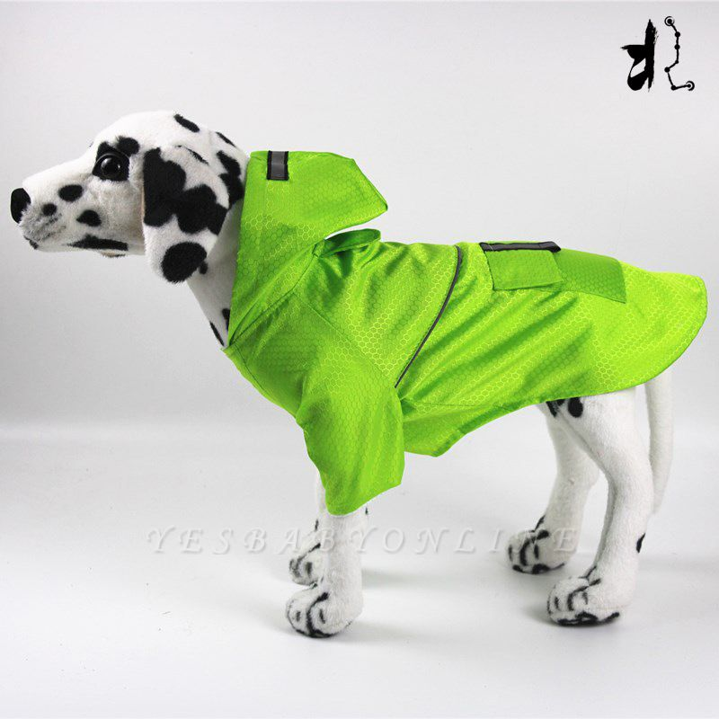 Green Outside Waterproof Hoody Covered Belly Large Dog Raincoat