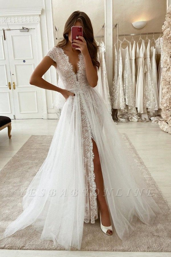 V-neck Cap Sleeves Lace Wedding Dresses with Detachable Sparkle Overskirt