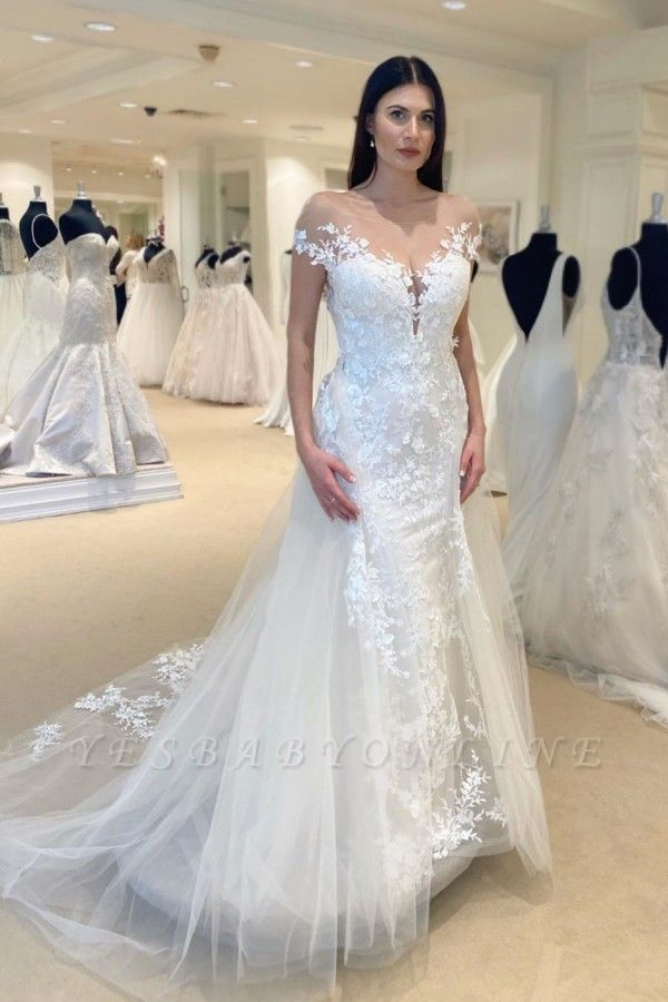 Jewel Sheer Lace Cap Sleeves Convertible Overskirt Wedding Dresses