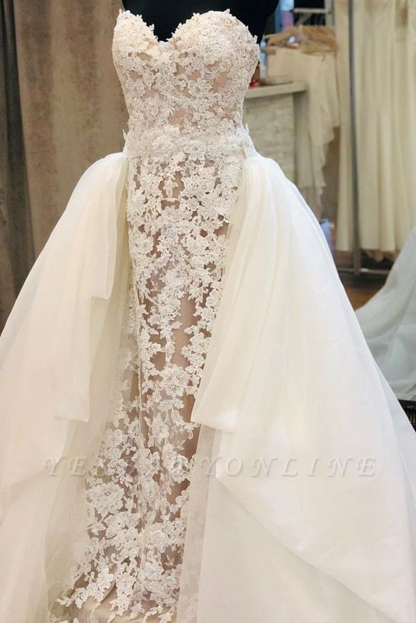 Strapless Sweetheart Grace Lace Removable Train Wedding Dresses