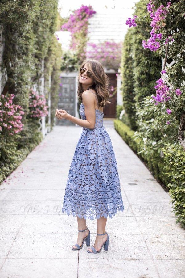Elegant Spaghetti Straps V-neck Blue Lace Midi Party Dresses