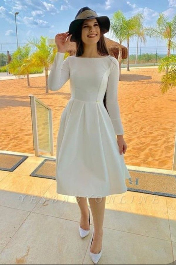 Bateau Long Sleeves Elegant Midi Dresses for Wedding Party and Other Event