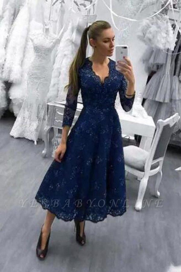 Dark-Navy V-Neck Beadings Lace A-line Tea-Length Evening Dress