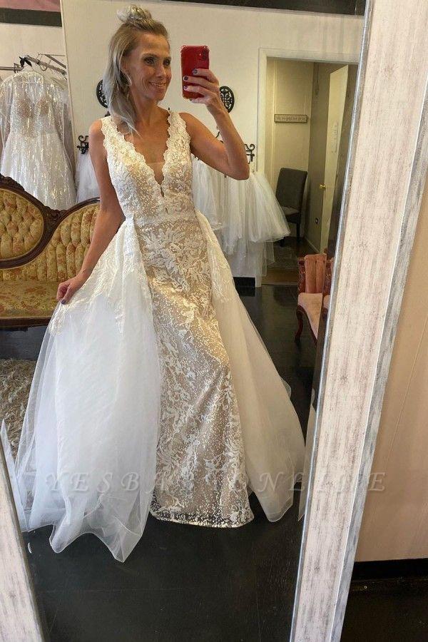 Straps V-neck Lace Tulle Detachable Train Wedding Dresses