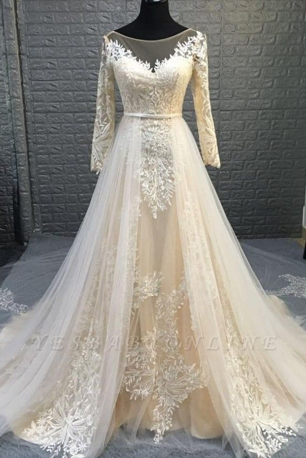 Round Neckline Long Sleeves Transformable Wedding Dresses with Overskirt