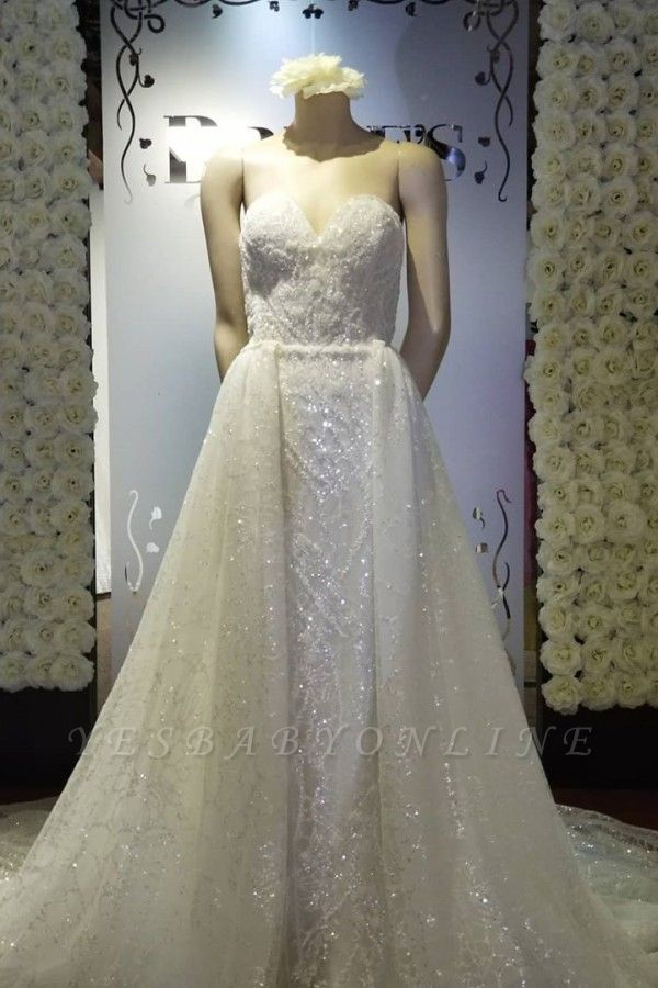 Strapless Sweetheart Sparkly Wedding Dress With Detachable Overskirt