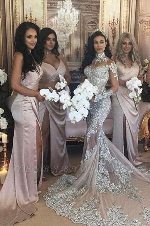 Spaghetti Straps V-neck Satin Sleek Simple Bridesmaid Dresses with Side Slit