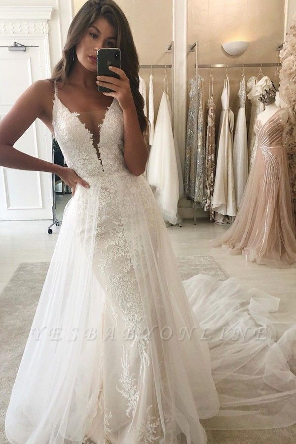 Spaghetti Straps Lace Mermaid Wedding Dresses With Detachable Train
