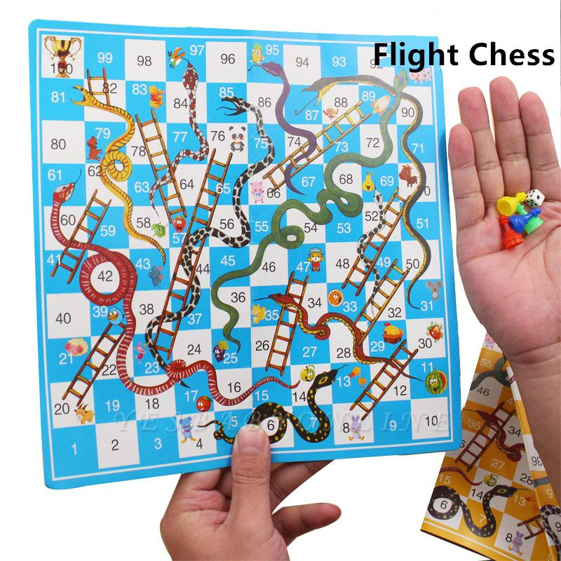 Portable Children Snake Ladder Plastic Flight Funny Family Party Games | Chess Set Board Game Toys for Kids