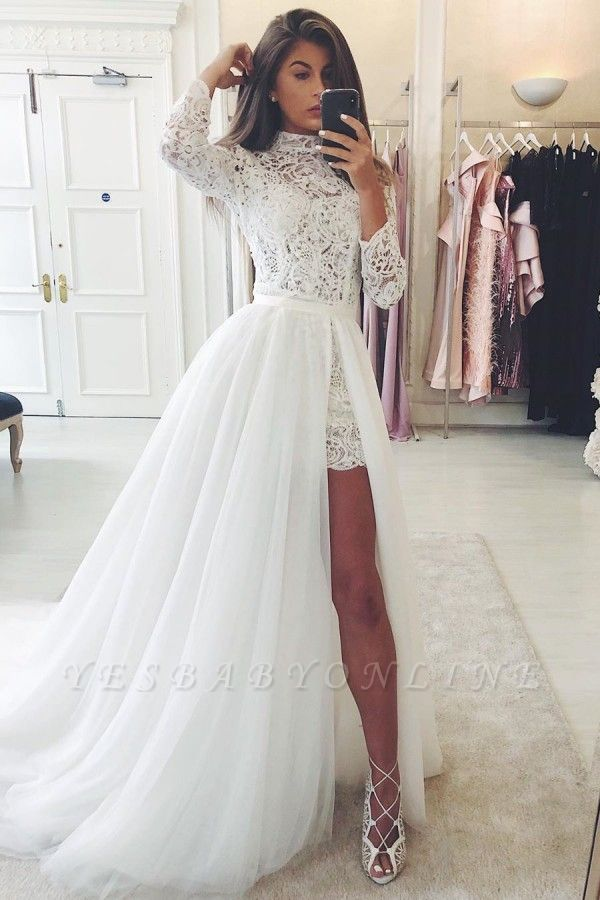 High Neck Long Sleeves Lace Wedding Dresses With Detachable Train
