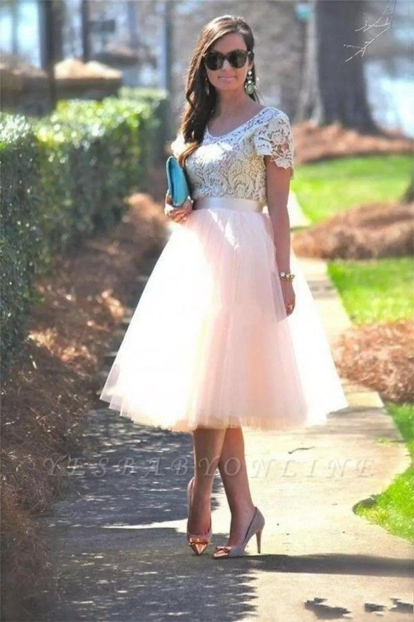 A-Line Short-Sleeves Lace  Tea-Length Homecoming Dress