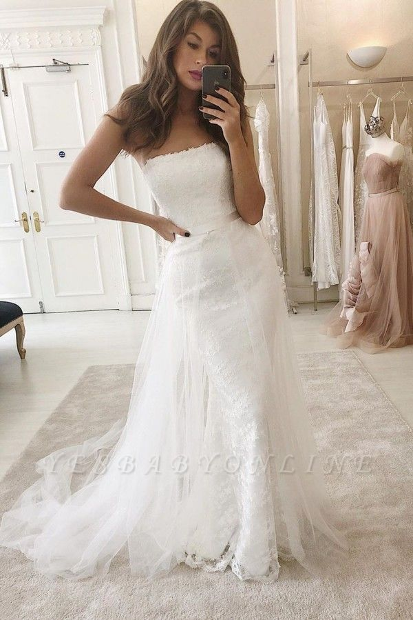 Women's Modern Strapless FItted Lace Detachable Wedding Dresses