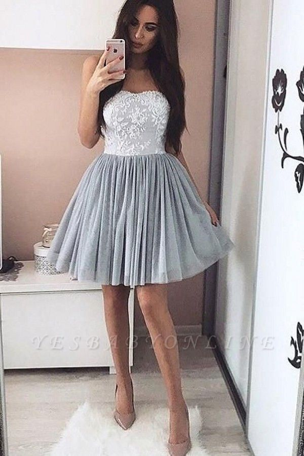 Elegant Silver Homecoming Dresses Sweetheart Neckline Lace Appliques Short Prom Dress
