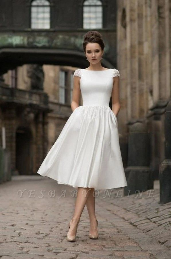 Jewel Cap Sleeves A-line Stiff Grace Midi Wedding Guest Dresses