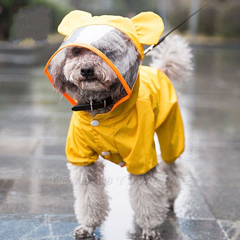Yellow New Designed Waterproof Dog Raincoat With Hoody | Small Pets Cloth
