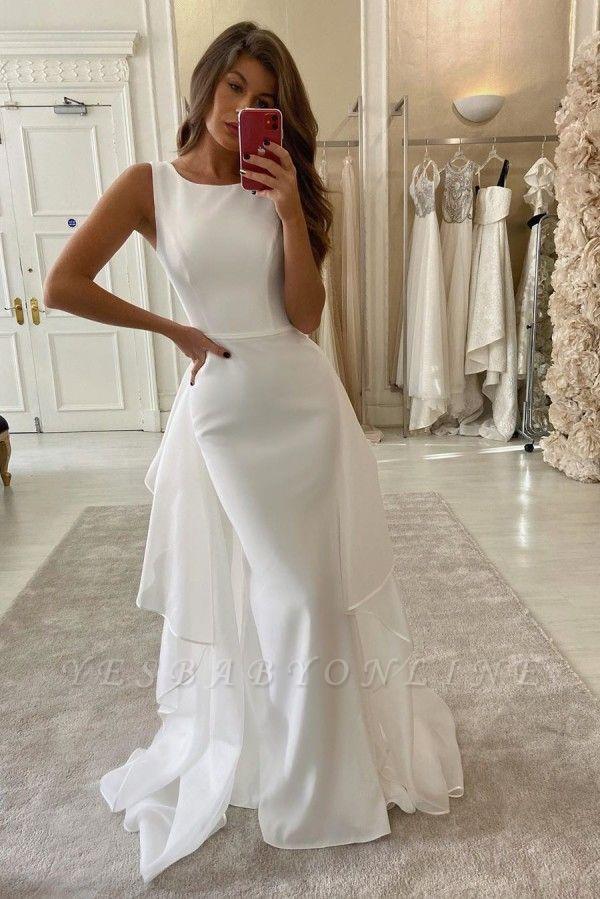 Bateau Sleeveless Sheath Grace Wedding Dresses With Detachable Skirt