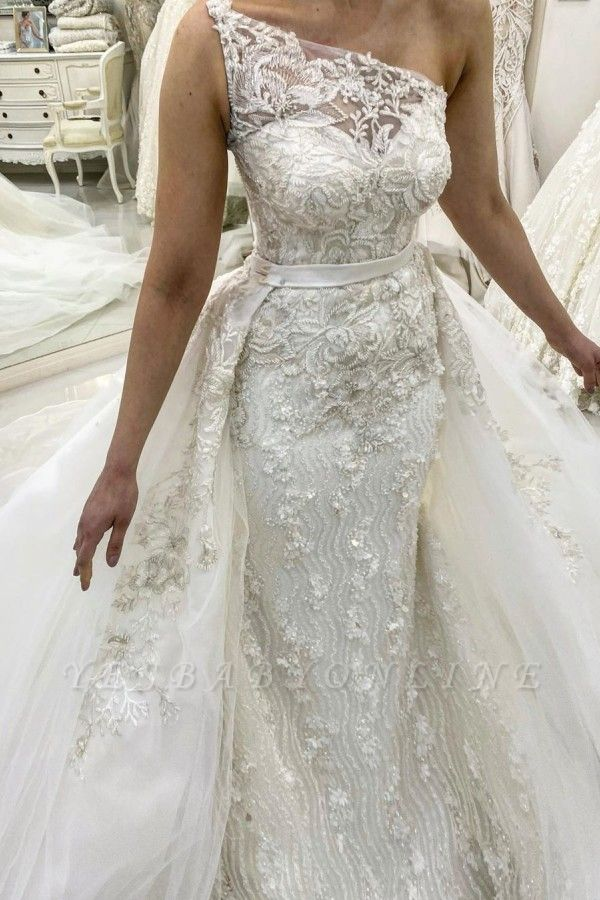 One Shoulder Sleeveless Lace Detachable Skirt Overlay Wedding Dresses