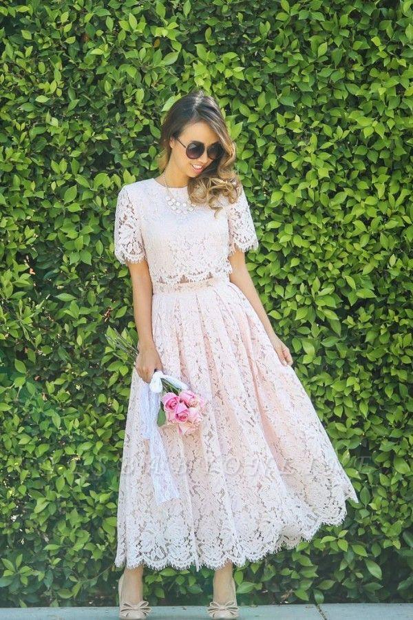Round Neck Short Sleeves Elegant Pink Lace Tea Length Party Dresses