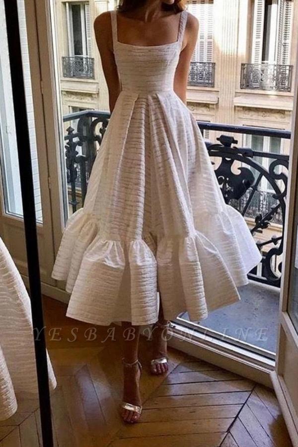Stylish Spaghetti Straps Square Neck Skirt Midi Wedding Guest Dresses