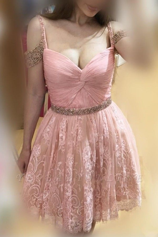 Burgundy Lace A-line Bead Off-the-Shoulder Sexy Homecoming Dresses