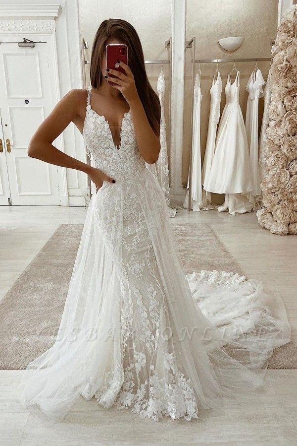 Spaghetti Straps Lace Fit and Flare Wedding Dresses With Detachable Overskirt