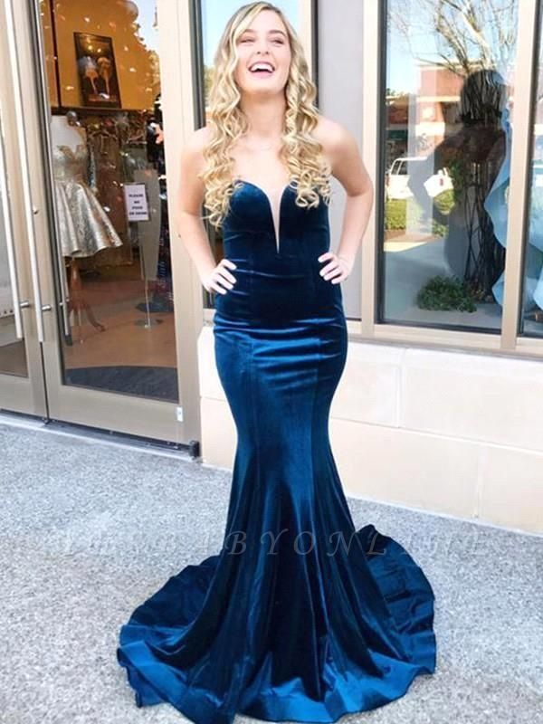 Dark Navy Velvet Mermaid Prom Dresses | Criss-cross Back Party Gown
