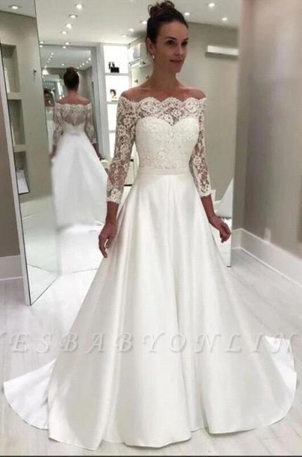 Elegant Bateau 3/4 Sleeves Satin Lace Wedding Dress