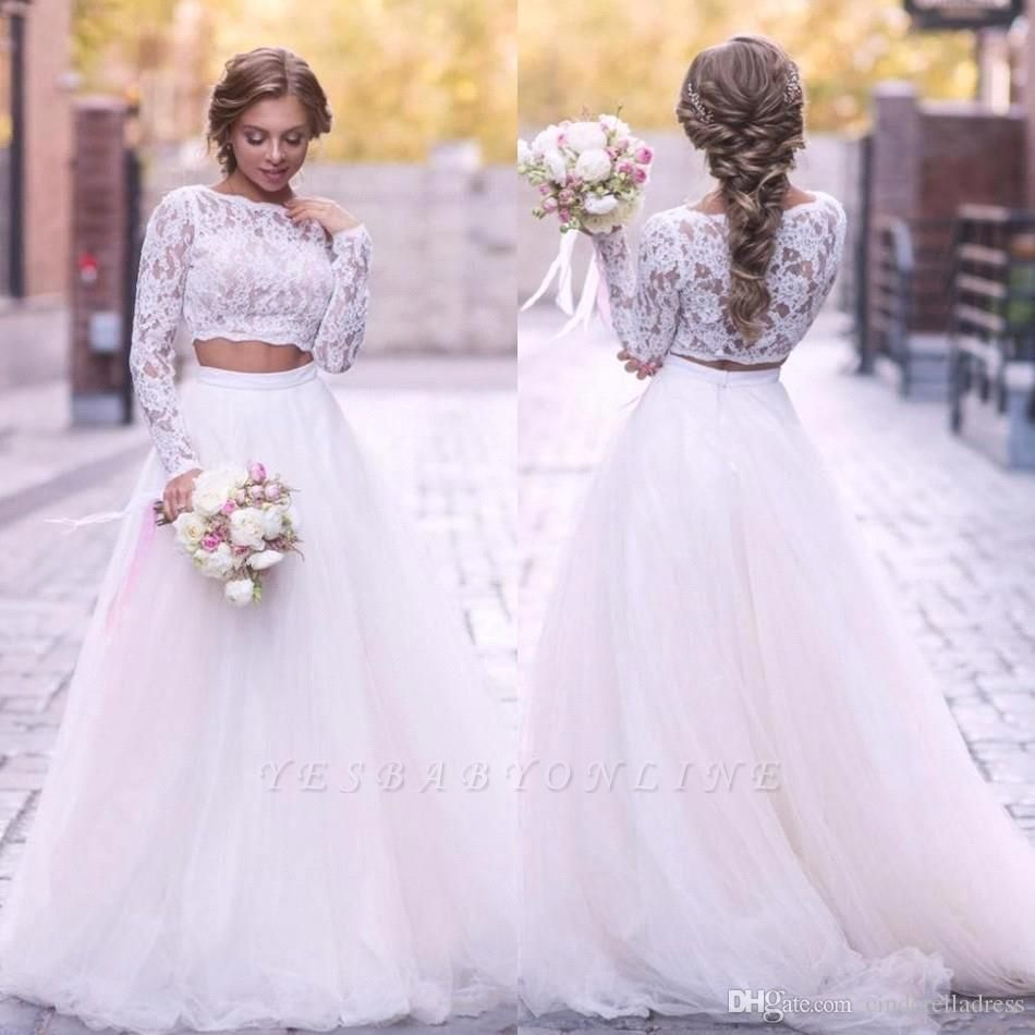 2 Piece Lace Wedding Gowns Tulle Skirt Floor Length Bridal Gowns
