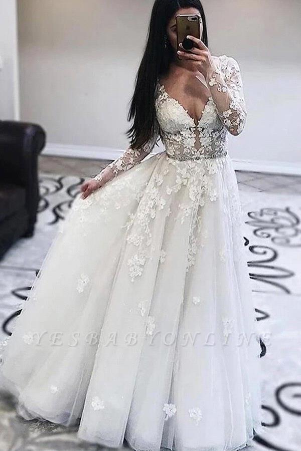 Elegant V-Neck Long Sleeves Tulle Appliques Ruffles Wedding Dress