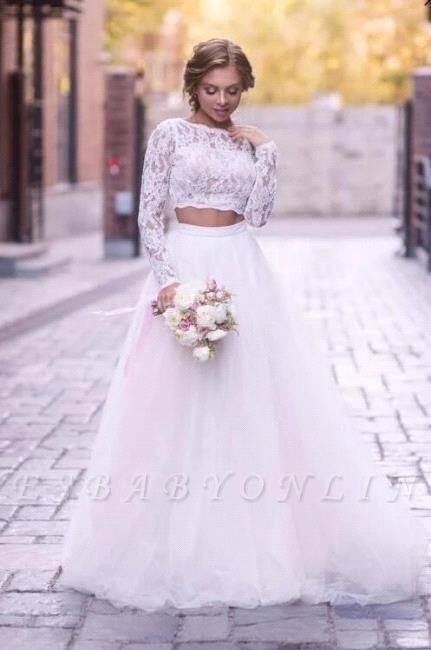 Elegant White Tulle Lace Wedding Dresses With Long Sleeves