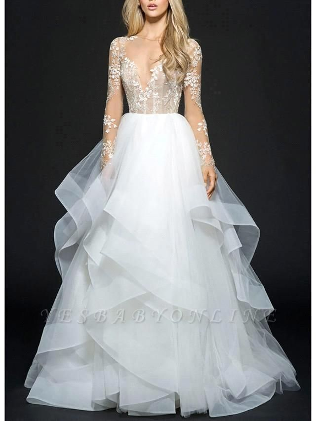 Illusion Ball Gown V Neck Organza Long Sleeve Floor Length Wedding Dresses