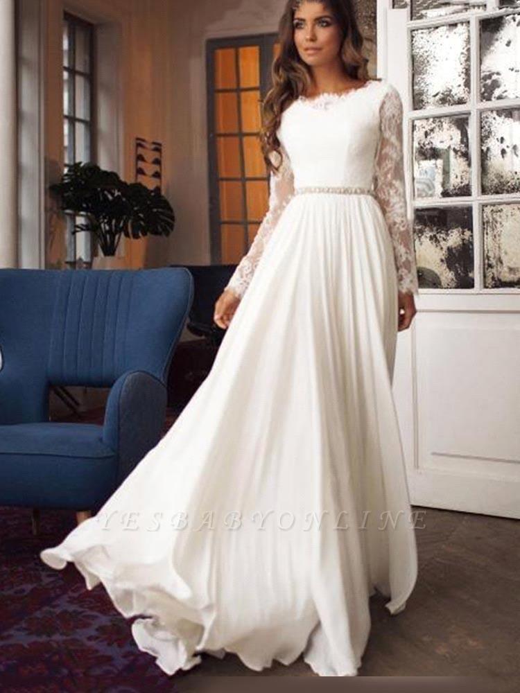 Yesbabyonline Glamorous A-Line Chiffon Long Sleeves Ruffles Wedding Dress
