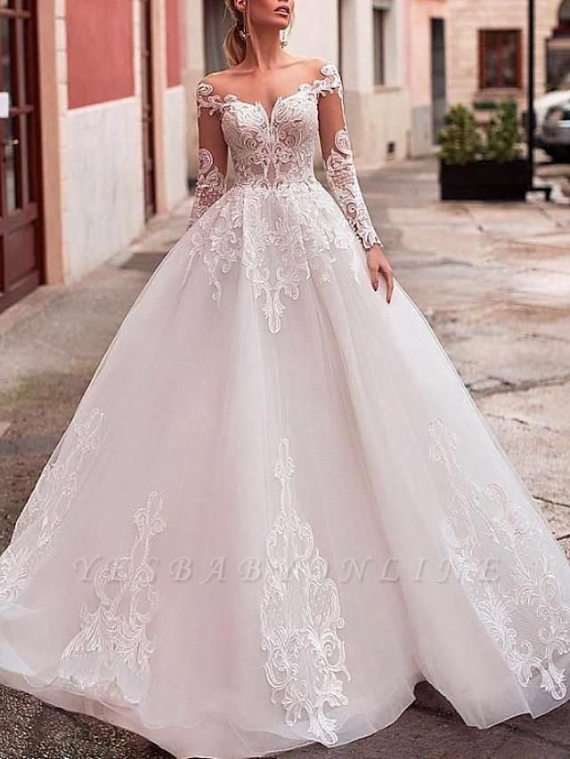 Glamorous Ball Gown Tulle Lace Wedding Dress with Long Sleeves
