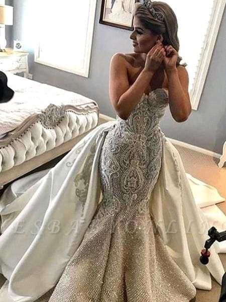 Glamorous Mermaid Strapless Tulle Lace Beadings Wedding Dress with Overskirt
