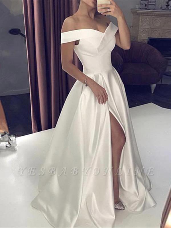 Sexy Off-Shoulder Satin A-Line Front Slit Wedding Dress