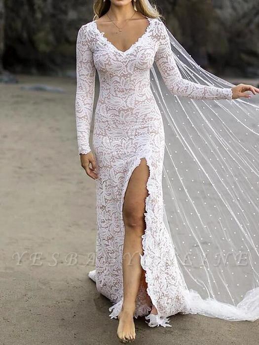 Chic Sheath V-Neck Long Sleeves Lace Beadings Wedding Dress with Slit