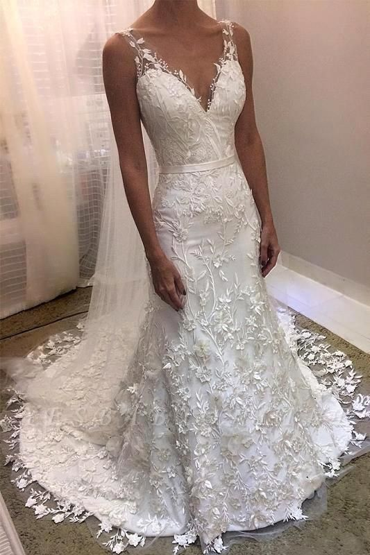 Modern Straps V-Neck Sleeveless Lace Wedding Dress with Beadings
