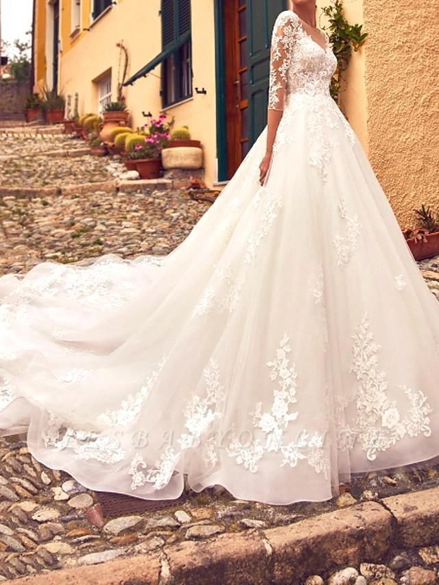 Elegant A-Line V-Neck Tulle Lace 3/4 Sleeves Wedding Dress