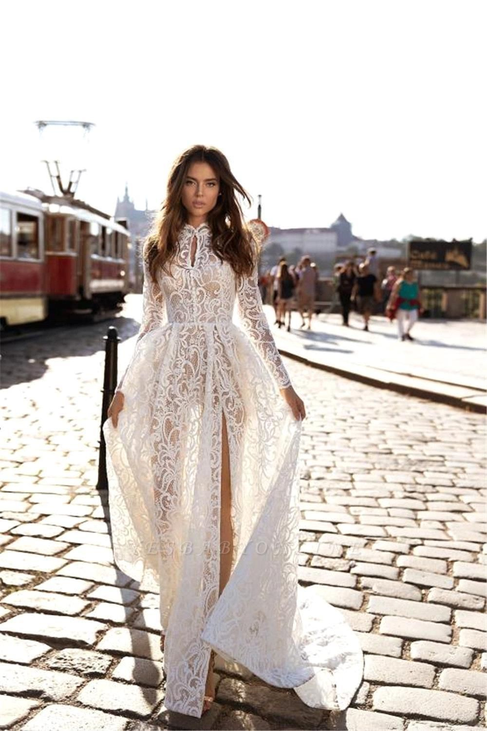 Sexy A-Line High-Neck Lace Long Sleeves Wedding Dress with Slit