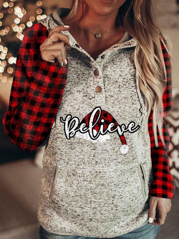 Believe Buffalo Plaid Santa Hat Long Sleeve Hoodies