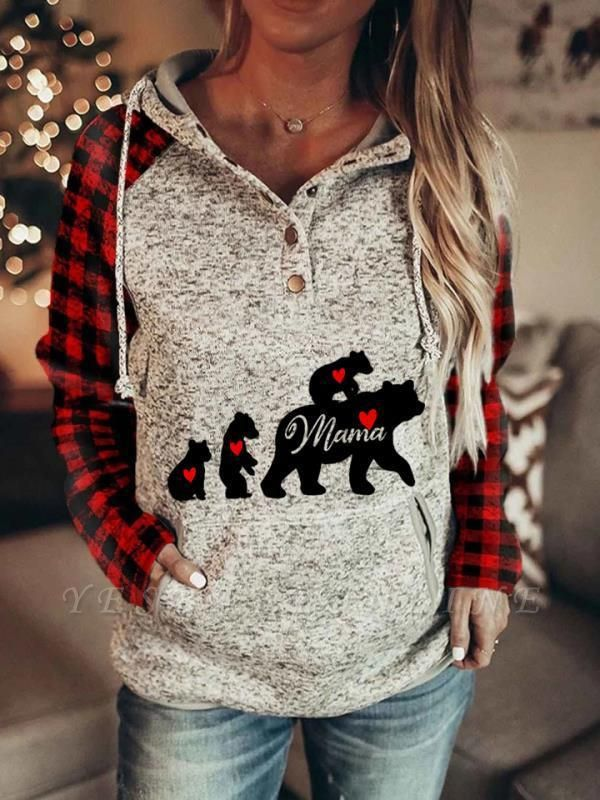 Ladies Fashion Printed MaMa Bear Hooded Casual Sweatshirt