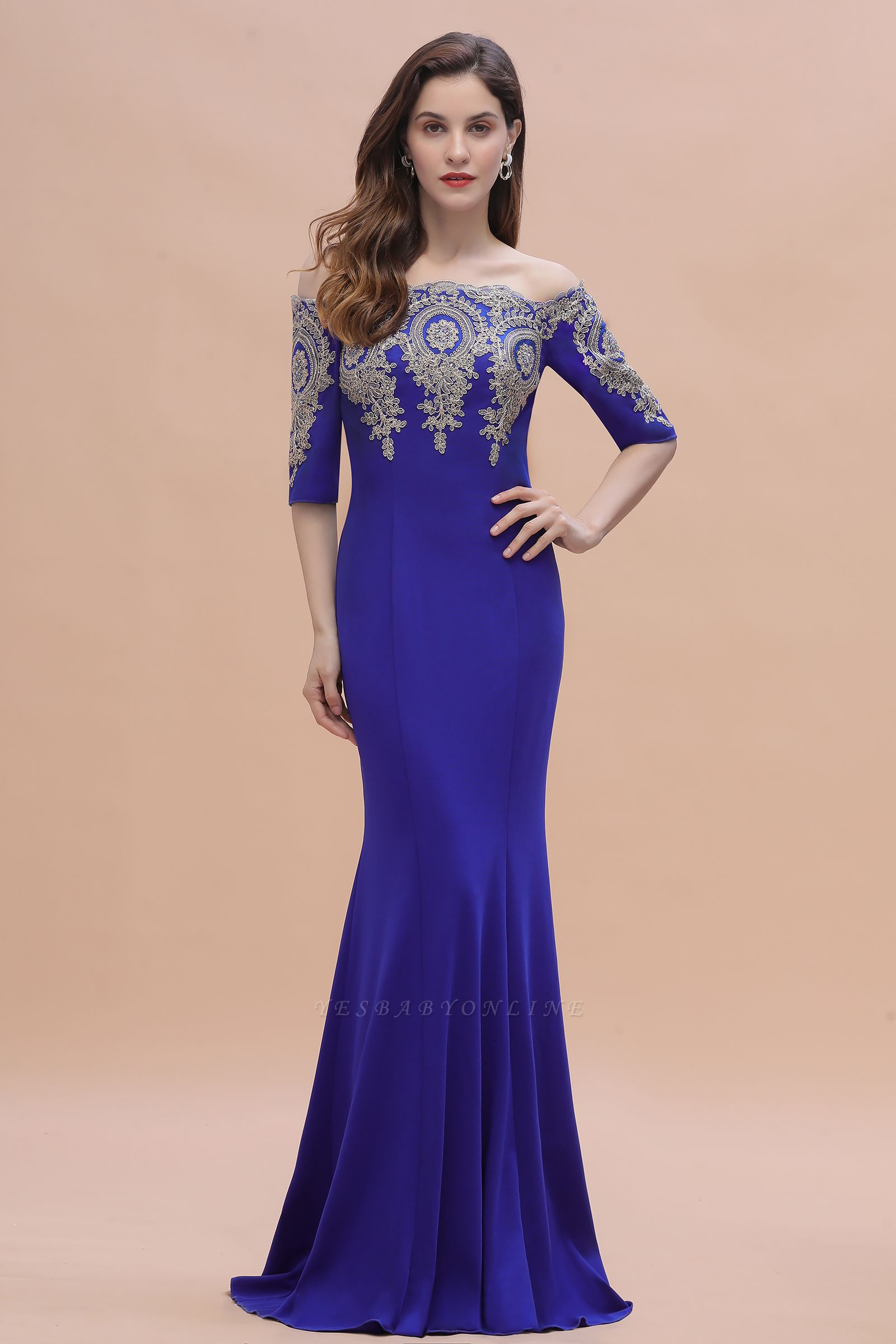 Mermaid Off-Shoulder Chiffon Lace Half Sleeve Evening Dress On Sale