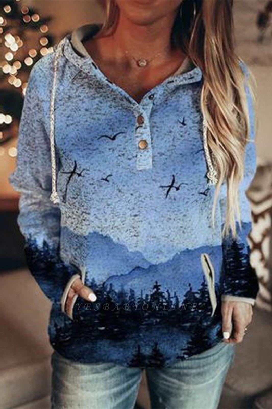 Women's Autumn Mountain Print Casual Hooded Sweatshirt