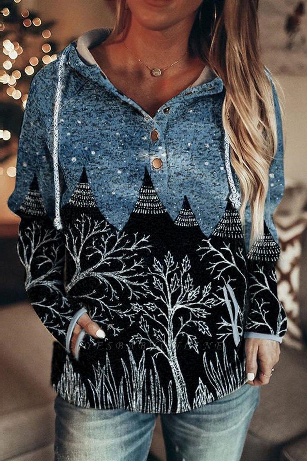 Women's Autumn And Winter Mountain Print Casual Sweatshirt