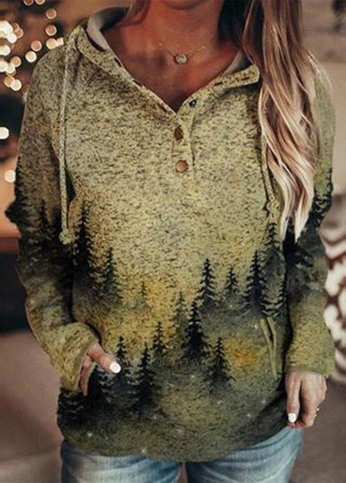 Fashion Women's Mountain Print Casual Sweatshirt Long Sleeves