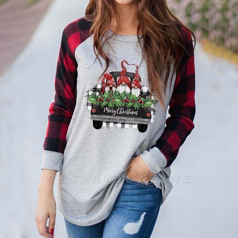 Women's MERRY CHRISTMAS truck gnome print color block sweatshirt
