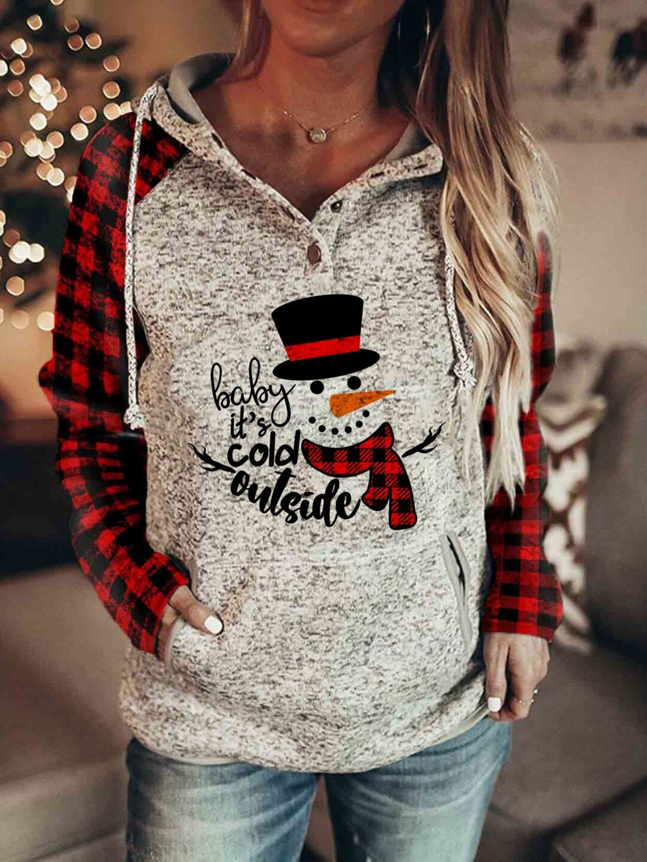 Women's Christmas Long Sleeves Print Hooded Sweatshirt