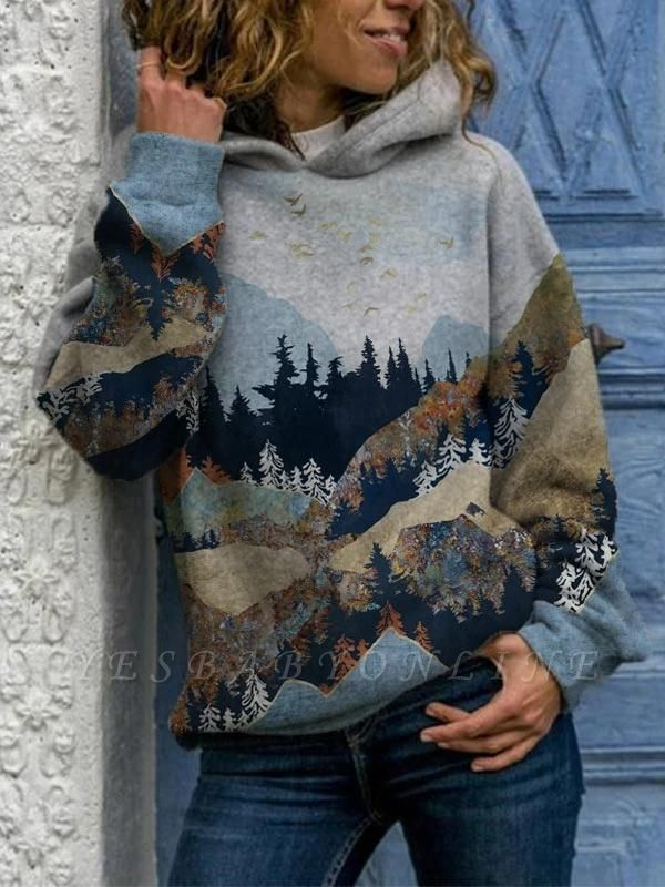 Women's Art Mountain Print Casual Hoodie & Sweatshirt